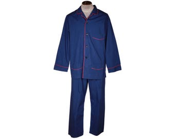 Vintage Harrods Bonsoir London Blue Pajamas Red Piping Cotton Pyjamas Mens Size XL