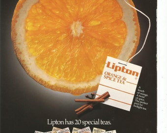 1989 Advertisement Lipton Orange And Spice Tea Drinker Room Special Flavored 80s House Cafe Coffee Shop Kitchen Restaurant Wall Art Decor