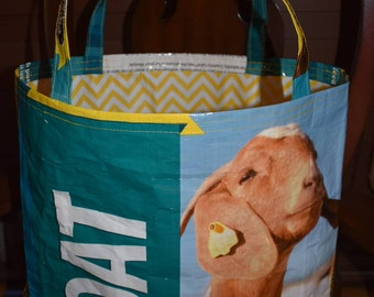 Recycled feed sack with a yellow chevron liner to match tote/bag/purse/shopping bag/grocery/stock show