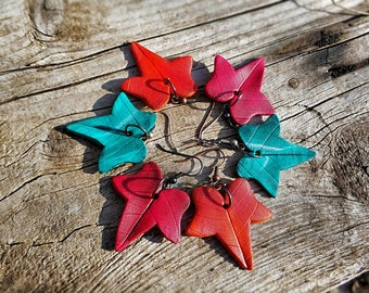 Autumn leaf earrings - fall leaf earrings - nickel free french hook
