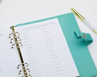 Password Tracker, A5 Password Tracker, Password Planner