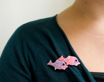 Lea Stein poisson broche - rose violet - poisson Double broche - Lea Stein Paris