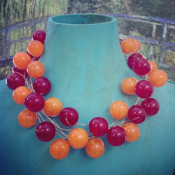Vintage Bakelite Style and Bauble Necklace, Diamonds and Rust One of a Kind necklace series