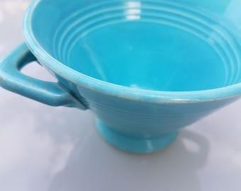 Vintage Homer Laughlin Harlequin pattern sugar creamer in Turquoise