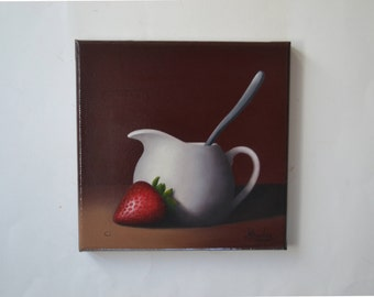 Acrylic 8x8' red strawberry painting, strawberries, tiny fruit painting, food miniature, small still life painting, kitchen, white creamer