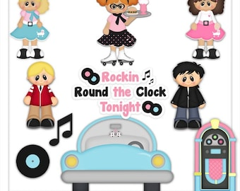 DIGITAL SCRAPBOOKING CLIPART - Rockin Round The Clock