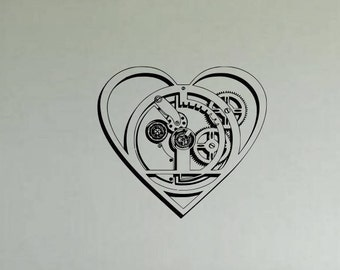 Gears in mechanical love heart vinyl wall art, decal or sticker
