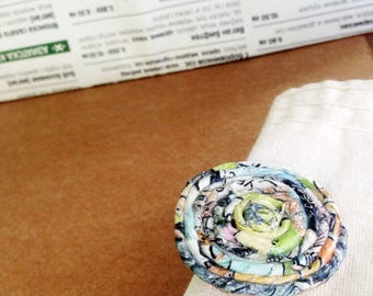 Upcycled brooch – green paper gift for an eco wife. 100% sustainable recycled jewelry pin. Upcycled newspaper accessory for the eco girl.