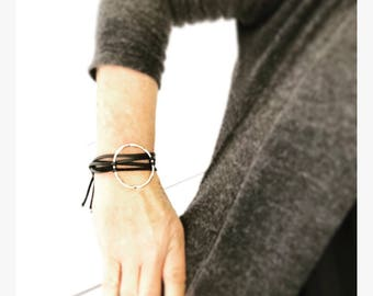 Hammered Silver Circle and Black Genuine Suede Leather Wrap Bracelet - Eternity Circle