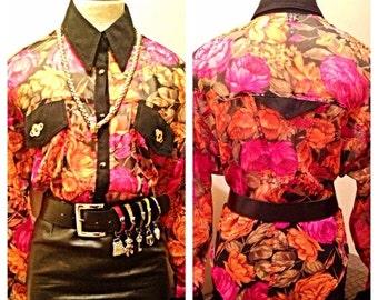 SALE Chic Vintage Sheer Floral Print Secretary Blouse