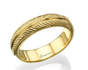Unique Wedding Ring, 14K Yellow Gold Ring, Unique Wedding Band, wedding bands Women, Leaf Wedding Band, Leaf Ring Gold
