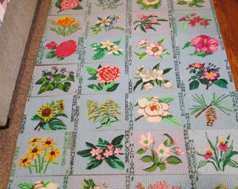 Vintage Placemats/State Flower Needlepoint Placemats/Name Your State/I have all of them