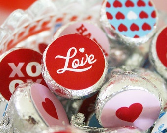 VALENTINES DAY Printable Hersheys Kisses 3/4in Dots – Print Your Own
