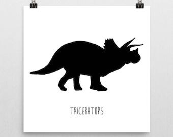 Dinosaur Nursery Print – Black and White Triceratops