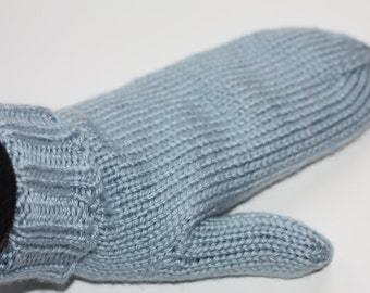 Blue Mittens for Adults - Traditional Mittens - Old Fashioned Mittens - Light Country Blue Adult Mittens - Knit Mittens - Knit Blue Mittens