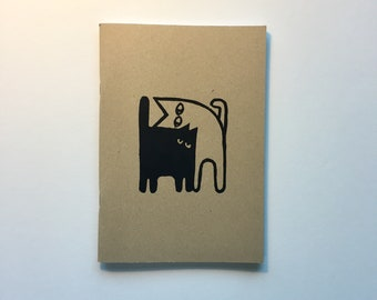 Meow. Hand printed notebook