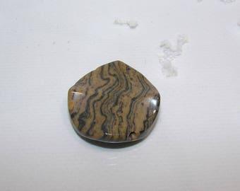 Stone Grey disc Agate wave 30 mm in diameter. Semi-precious stones. (3335017)