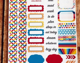 OVER THE RAINBOW Personal Weekly Sticker Kit, Planner Stickers, Sticker Kit Sized for Erin Condren Life Planner