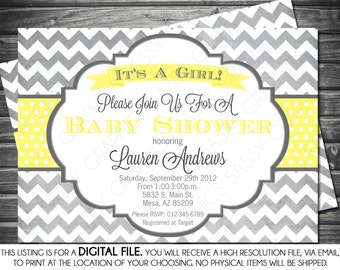 Girls Baby Shower Invitation - Chevron, Gray, Yellow, Printable, Digital