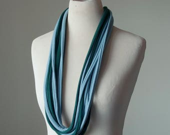 Recycled T-Shirt Necklace Blue Green