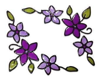 Flowers corners - window / mirror corners - handmade window sticker - home decor - stained glass window cling decoration - suncatcher