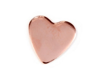 Five 15mm Copper 22 Gauge Heart Stamping Blank, Tumbled, Discs for Hand Stamping