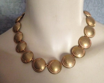 1950s, 1960s Monet Necklace, Unplated Raw Brass and Copper - Refinish or Use As Is, Lovely