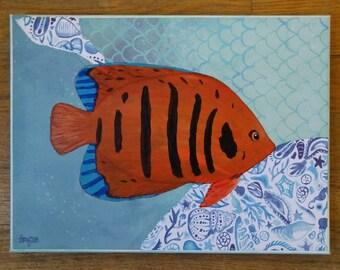 Tropical Reef Fish Painting 9x12 Original Nautical Folk Art Mixed Media