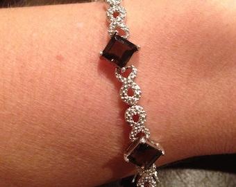 Sterling Silver and Smokey Quartz Vintage Bracelet Stunning