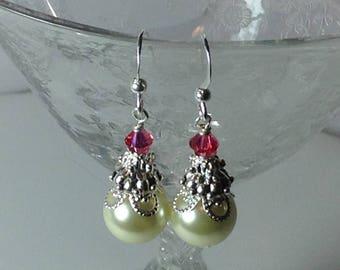 Ivory and Fuchsia Pearl Bridal  Bridesmaid Earrings