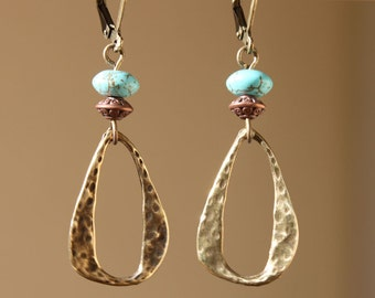 Turquoise Earrings Boho Earrings Dangle Earrings Drop Earrings Boho jewelry Brass Earrings Gift For Her For women