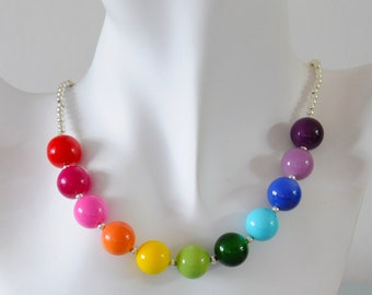 Rainbow Necklace - Chunky Czech Glass Beaded Multicoloured Rainbow Necklace Bright Colourful Gift for Her by Emma Dickie Design