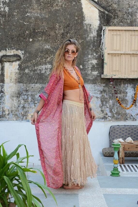 SUNSET ROSE KIMONO - Full length Kaftan - Beach Cover Up - Summer - Wedding - Peasant dress - Vintage dress - Festival Fashion - Folk