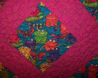 Quilt, Bold Colors Frog design , hot pink handmade patchwork quilt for babys and everybody else