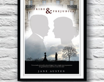 Pride and Prejudice, Jane Austen, Quote Poster, Movie poster, Typographic Print, Wall Decor, Literature Poster, Minimalist Print