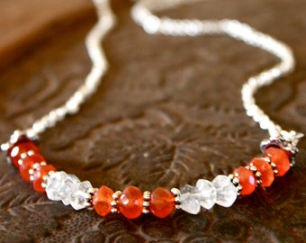 Fertility Necklace- with Fertility Blessing - Carnelian and Quartz Crystal
