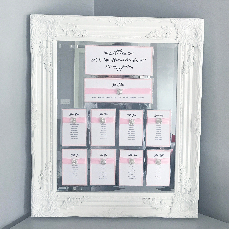 SILVER WHITE PINK theme wedding frames foil table seating plan