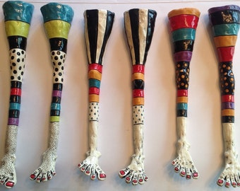 Ceramic Crazy Leg Wall Toothpick Holders  - One Pair