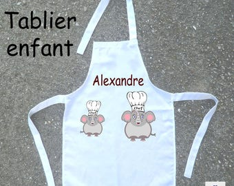 Cooking apron child Elephant personalized with a name (ex. Alexander)