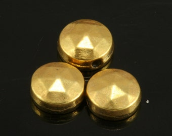 10 pcs  6,5 mm (hole 1 mm) gold plated brass spacer  findings spacer bead bab1 31
