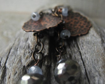 Pyrite Sapphire Earrings Statement Earrings Copper Dangle Earrings September Birthstone Jewelry  Item No. JE2128