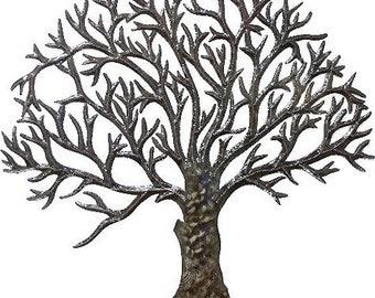 "Metal Wall Art, Tree, Metal Wall Hanging, Recycled Steel Drum, Wall Decor, Handcrafted, Haitian Metal Art, Metal Art Sculpture  34"", 5014-34"