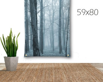 Tree Tapestry-Forest Tapestry-Woodland Tapestry-Canvas Tapestry-Blue Wall Decor-Wall Hanging-Surreal Art-Fine Art Tapestry-Outdoor Tapestry