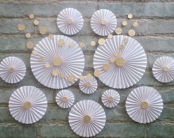 SET OF 12 - White Paper Rosettes / fans -  Wedding decor, Party decor, Table Backdrop, Hanging Decor for Baby shower, Nursery