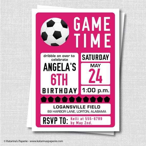 Custom Girl Soccer Birthday Invitation Soccer Themed Party