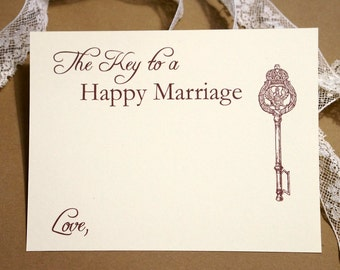 Key to a Happy Marriage - Wedding Advice Cards - Vintage Key - Marriage Advice Notes - Cream Card - Guestbook Alternative - 5.5 by 4.25 in