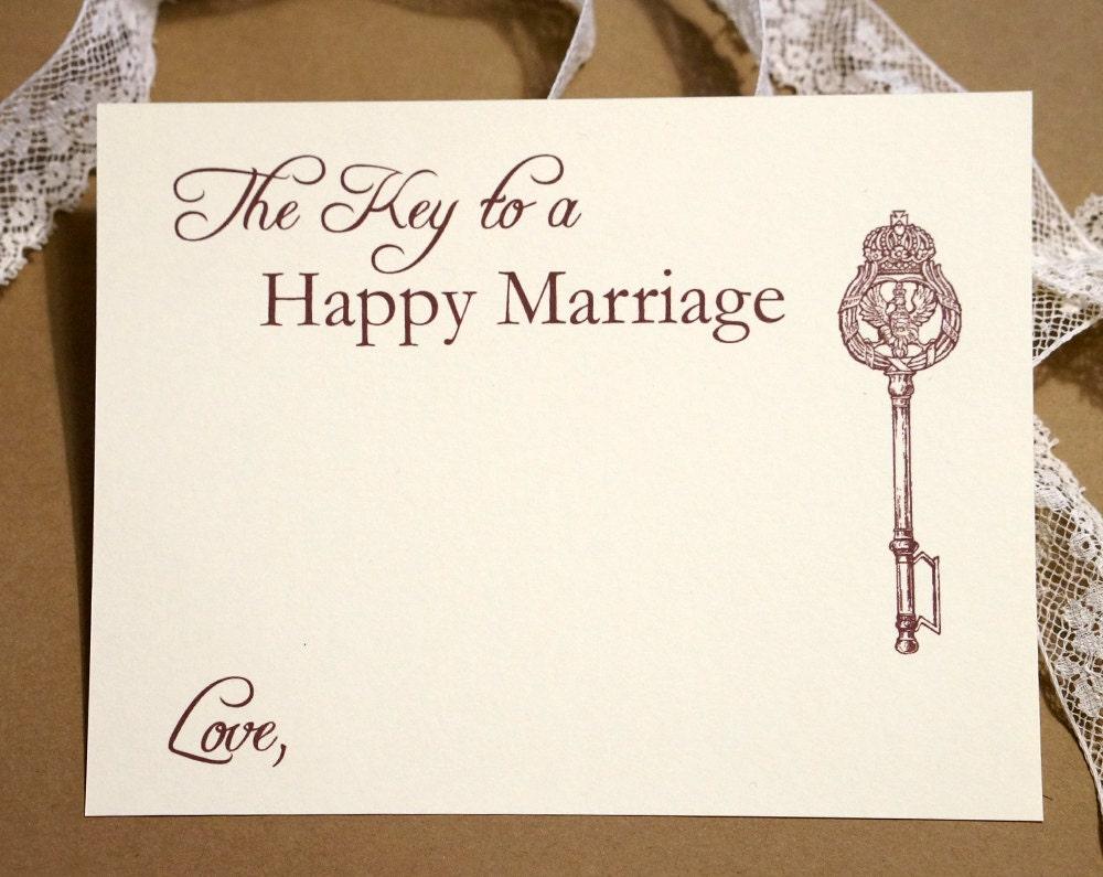 key to a happy marriage wedding advice cards vintage key