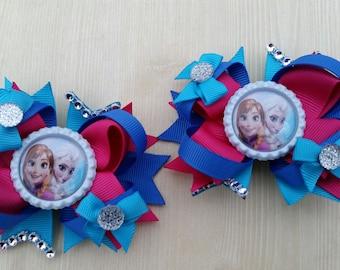 Frozen girls hair bows. Set of 2. Perfect for piggy tails :)   Anna & Elsa