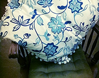 """Decorative Pillow Blue and White Modern Floral with White Pom Pom Fringe. Feather Stuffed. 24"""" × 24"""""""