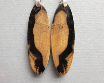 Black and White Ebony Exotic Wood Earrings, Long Dangle handcrafted ExoticwoodJewelryAnd, Hypo allergenic ear wires